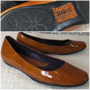BORN Brown Camel Patent Leather Ballet Flat 7 EUC